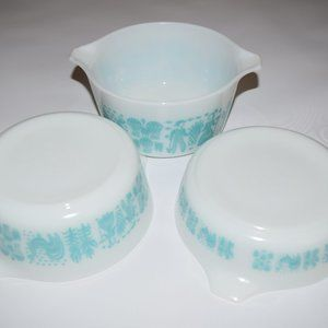 vtg Pyrex Amish Butterprint Casserole Dishes Bowls